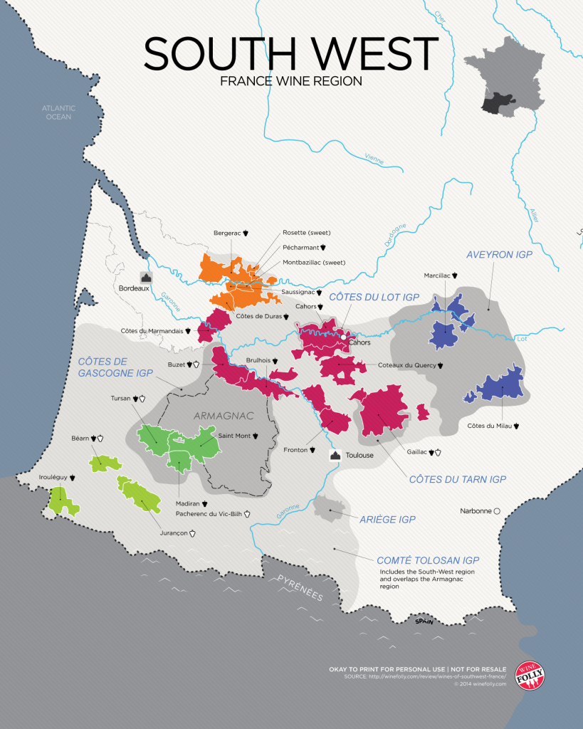 Southwest France wine map from WineFolly.com