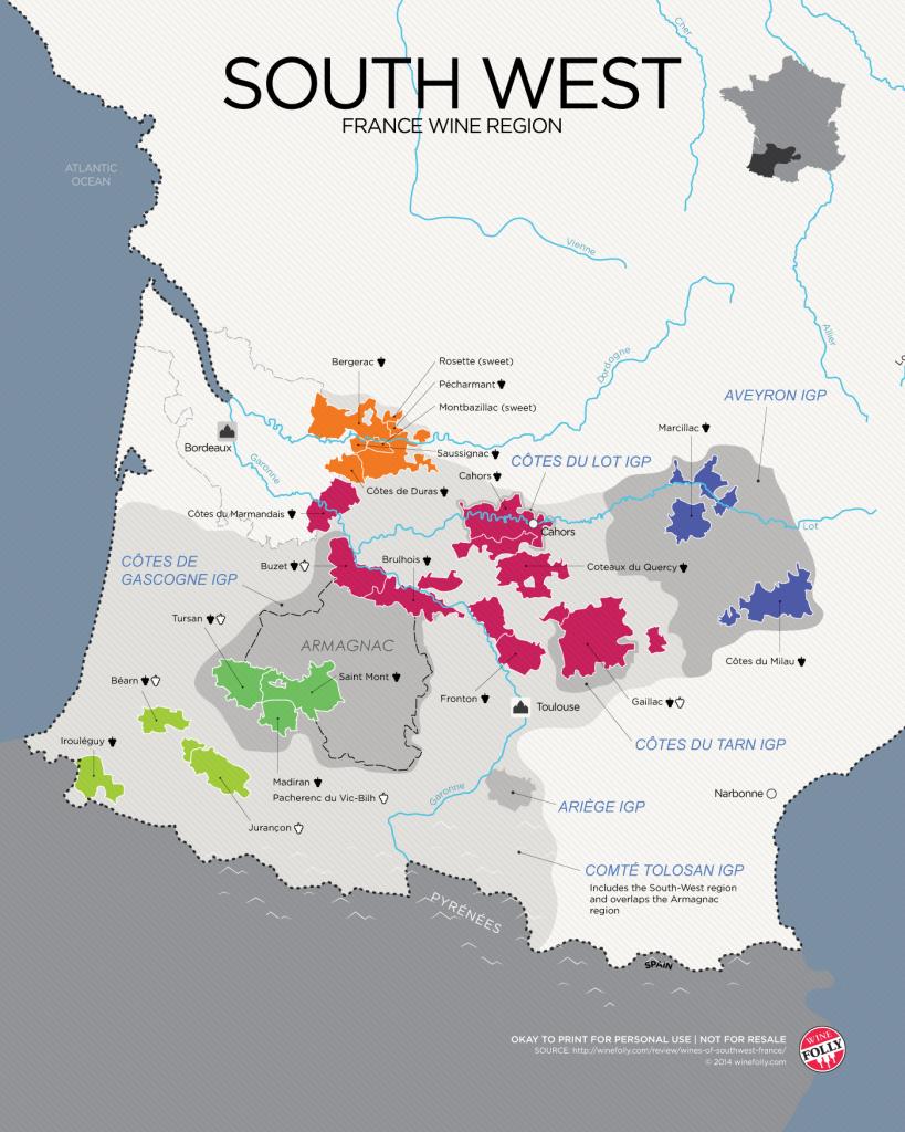 Southwest France wine map from WineFolly.com
