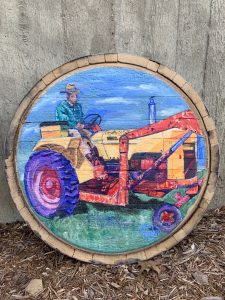 Barrel-head painted by Ryan Eiter and up for auction this year -happy bidding and good luck!